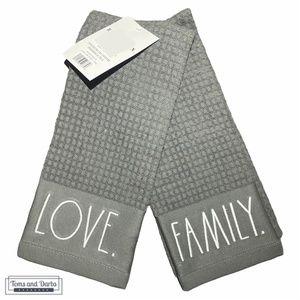Rae Dunn LOVE & FAMILY Kitchen Towel Set of 2